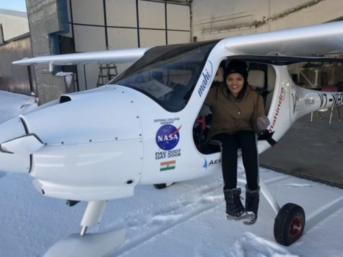 Aarohi Pandit in light sport aircraft.