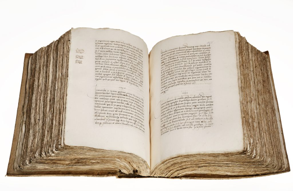 AM 377 fol. (shown here ff. 455v-456r) contains summaries of around 2000 books that belonged to Hernando Colón.