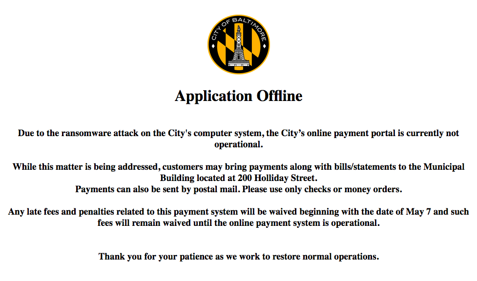 Screenshot of Baltimore city website saying online payment portal is not operational.