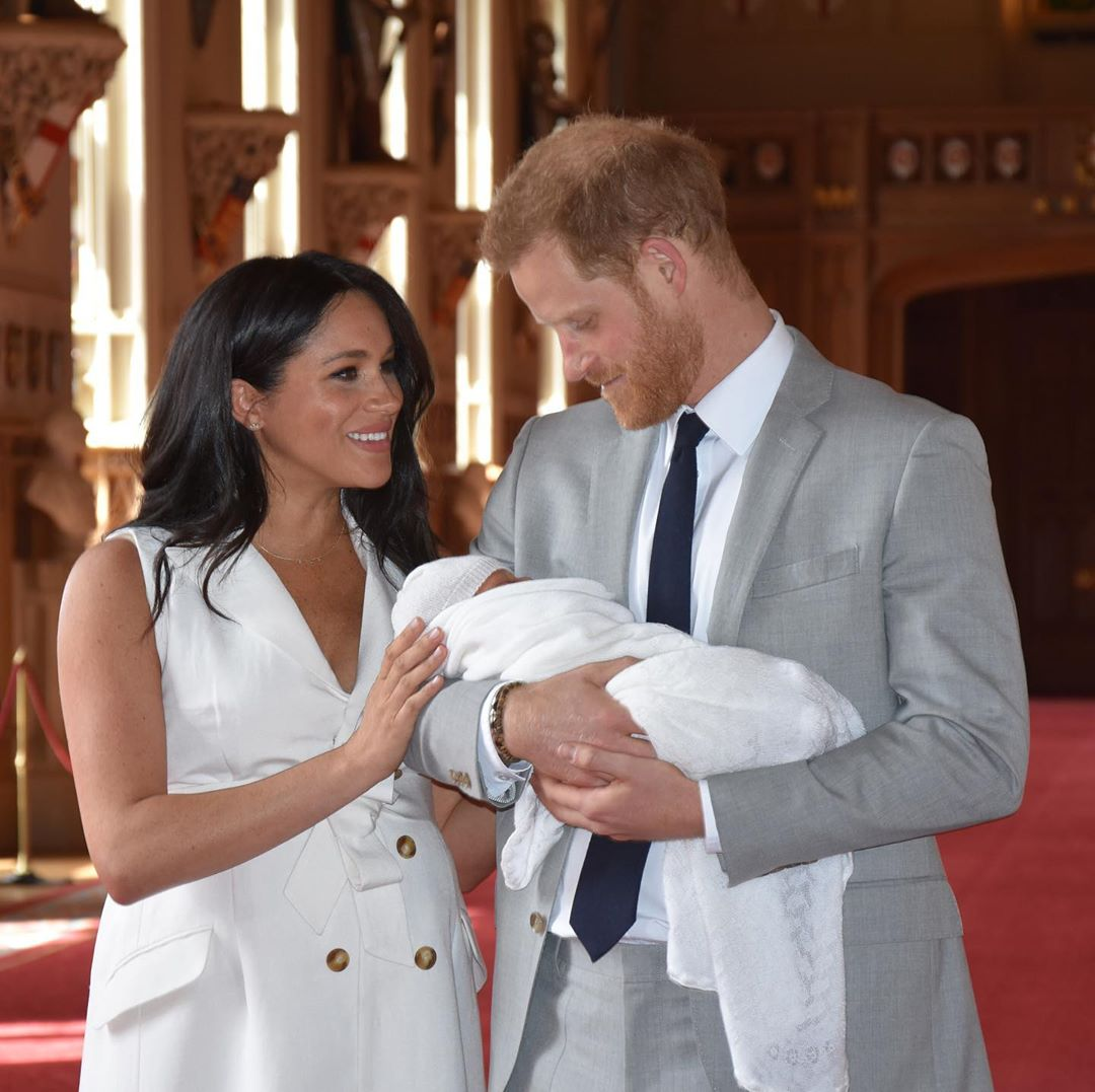 The Duke and Duchess of Sussex with their baby.