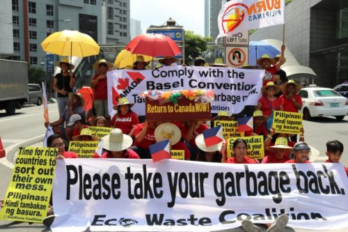 Protesters in the Philippines demonstrate over garbage dumping.