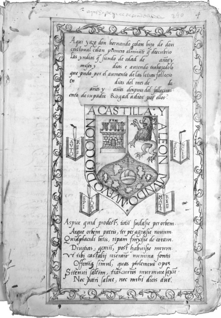 "The picture shows Colón's ""Coat of Arms"". The four books in the design stand for four ways of organizing books."