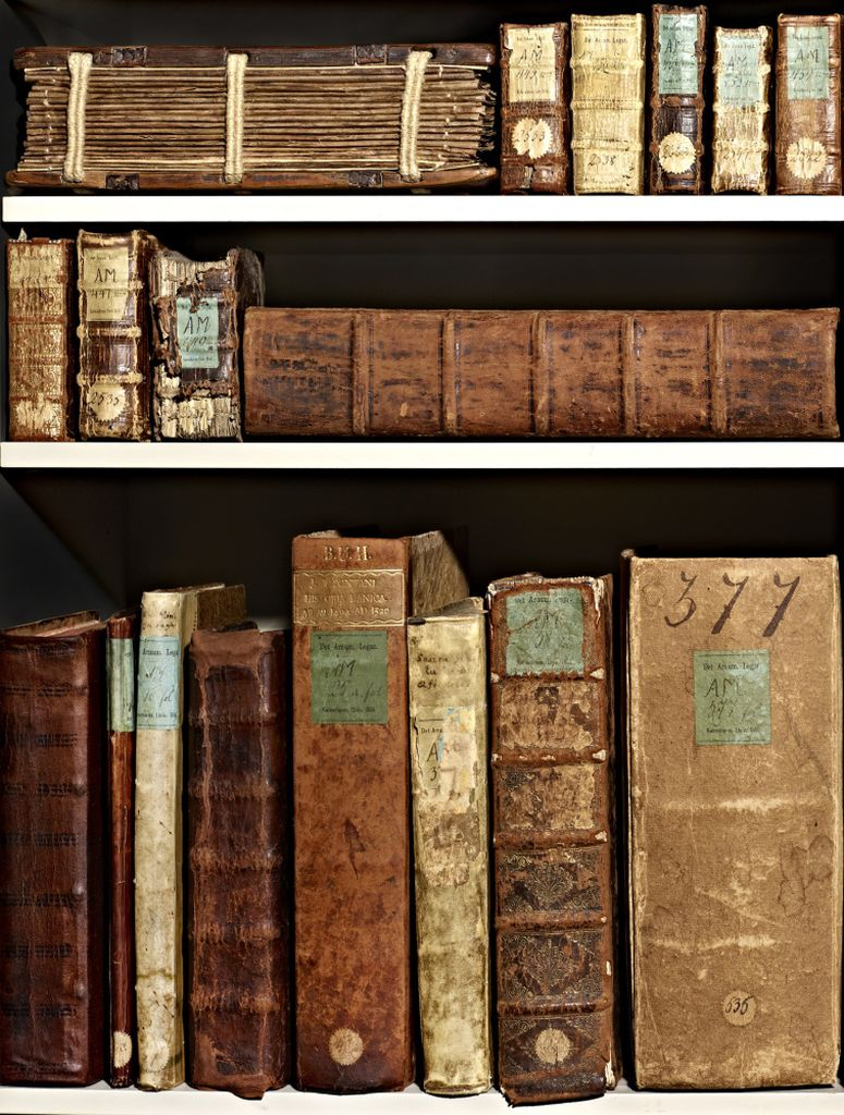 Ancient books on shelves at the Arnamagnæan Collection.