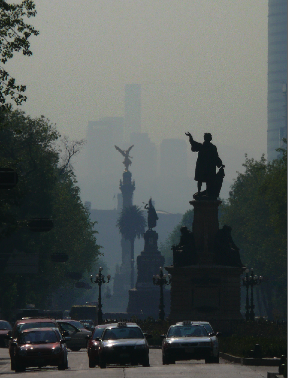 Smog over Paseo de la Reforma, Mexico City.
