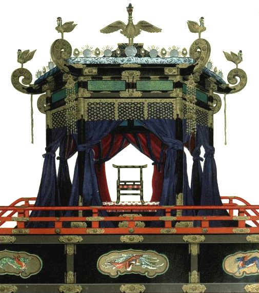 "Image of chair used in enthronement of Japanese Emperor Taishō. ""TAKAMIKURA"", the special seat used by the Emperor at the enthronment. The Chrysanthemum Throne."