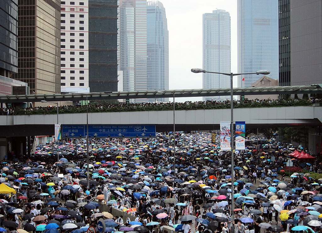 Hong Kong protesters demonstrating against the government's China extradition bill. Protesters fill the streets on Harcourt Road, Admiralty, Hong Kong at 13:30 on 12 June 2019, adjacent to the Central Government Complex.