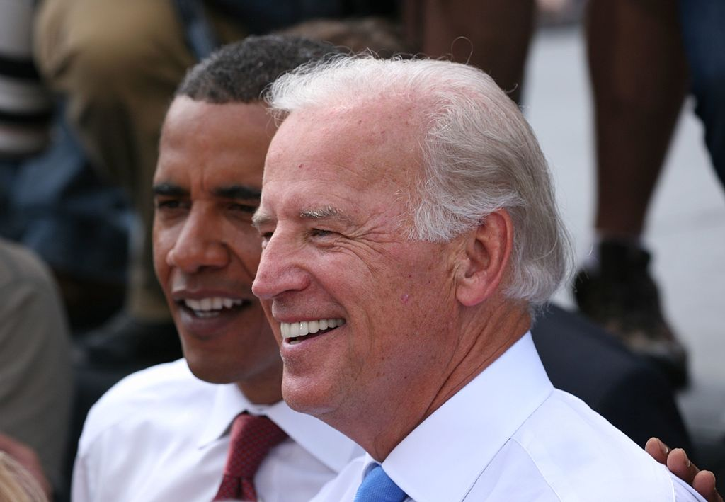 Joe Biden und Barack Obama in Springfield, Illinois, right after Biden was formerly introduced by Obama as his running mate