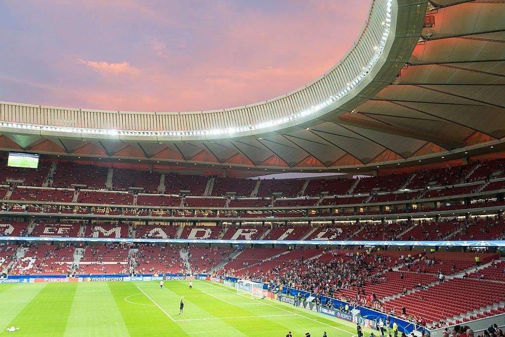 Wanda Metropolitano Stadium in Madrid/Tomada durante el día del primer partido de UEFA Champions League en el estadio entre el Atlético de Madrid y el Chelsea.