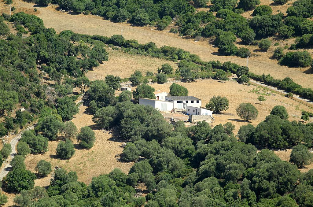Aerial view. Farm house, Monteleone Rocca Doria, Province of Sassari, Sardinia, Italia