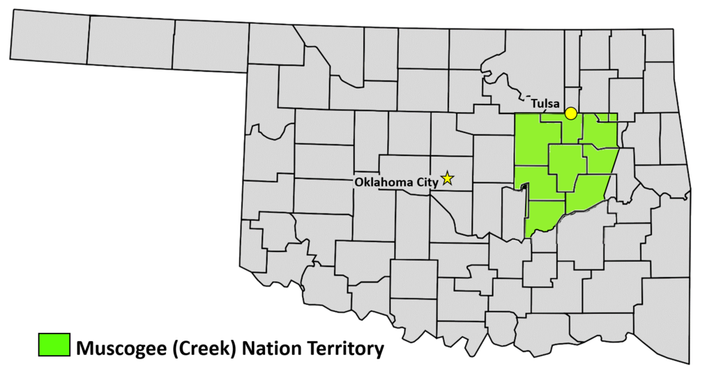 Muscogee Creek Nation Territory within an Oklahoma county map