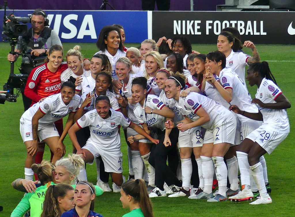 Olympique Lyonnais after a victory in the Champions League over FC Barcelona on May 18, 2019.