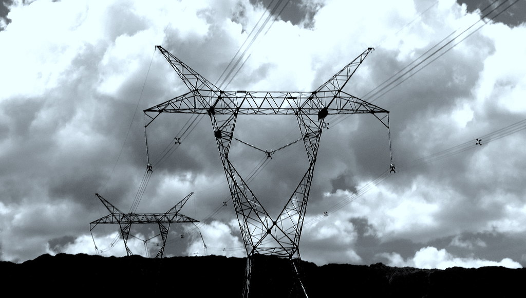 Black and white photo of power lines in Argentina.