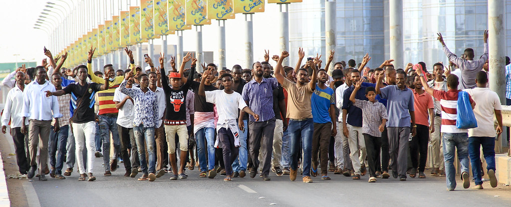 Sudan Revolution - young people blocking a street