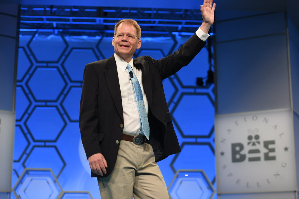 Dr. Jacques Bailly at the 2019 Scripps National Spelling Bee.