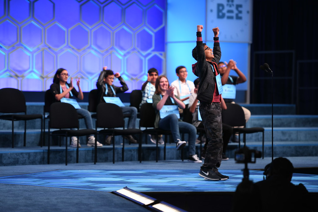 Rishik Gandhasri celebrates his win at the 2019 Scripps National Spelling Bee.