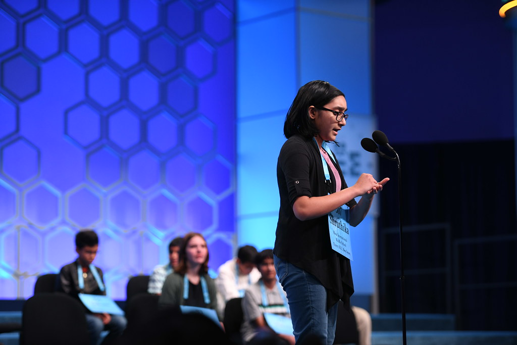 Shruthika Padhy imagines writing a word on her hand during the 2019 Scripps National Spelling Bee.