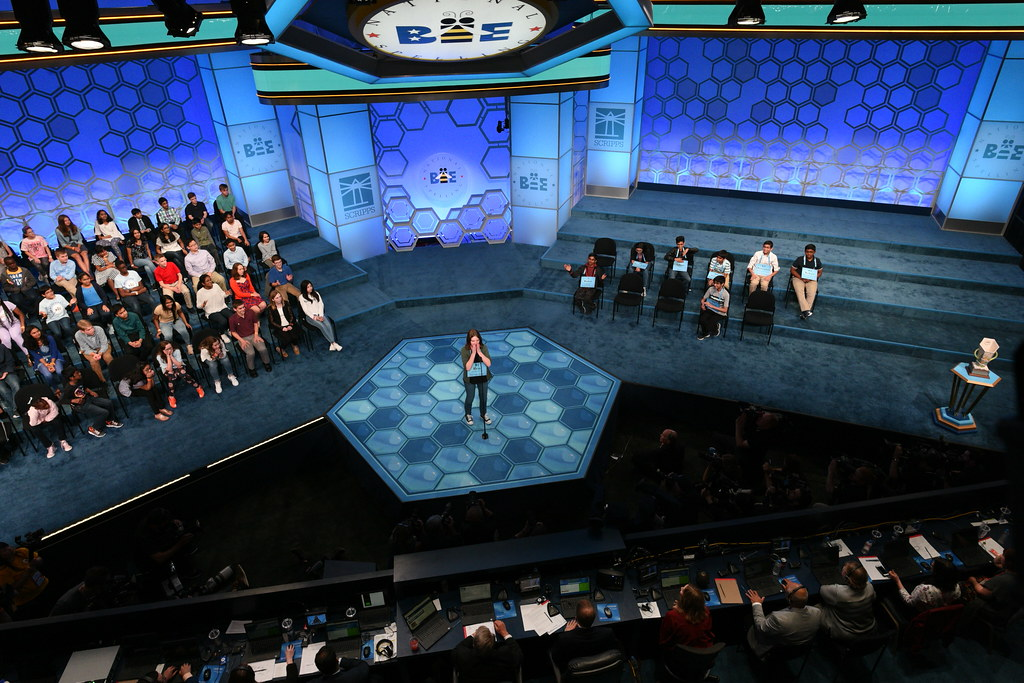 Erin Howard spelling a word at the 2019 Scripps National Spelling Bee.