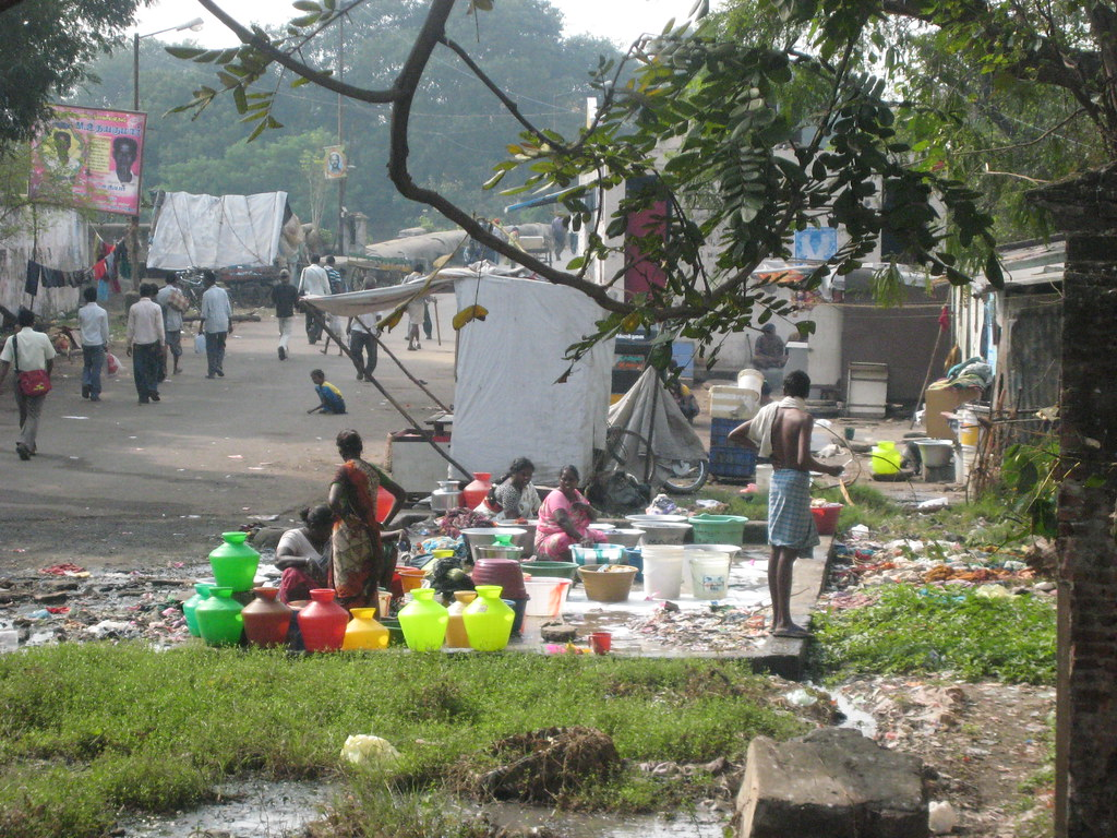 People Filling Water Jugs, Chennai, India
