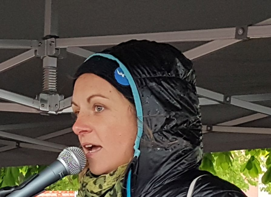 Pia Klemp as a speaker at the 19th Sunday demonstration in Vorarlberg. On 5.5.2019 in Bregenz.