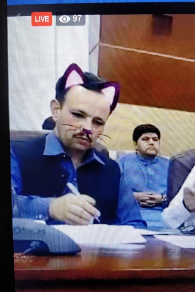 Pakistani politician with the cat filter.