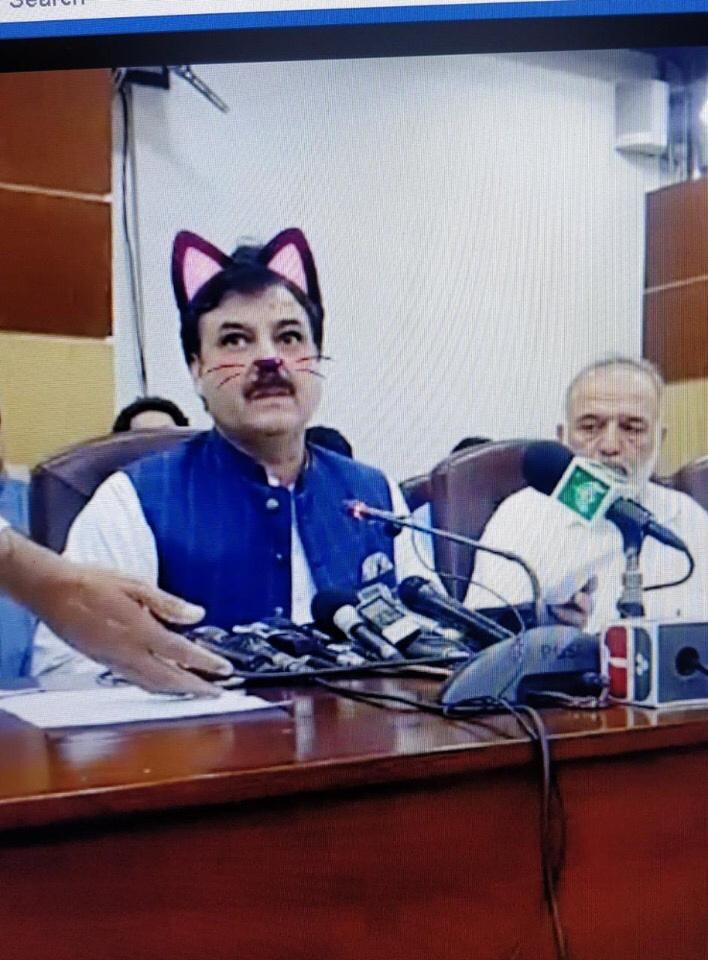 Pakistani politician Shaukat Ali Yousafzai with the cat filter.