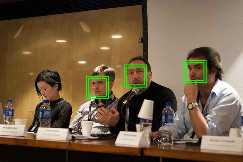 Illustration of automatic face detection.