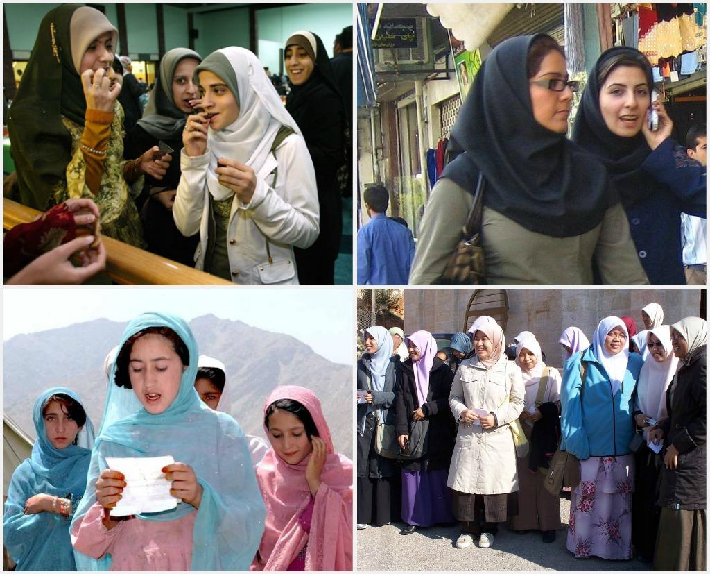 68702faf Collage of images displaying women wearing hijab.
