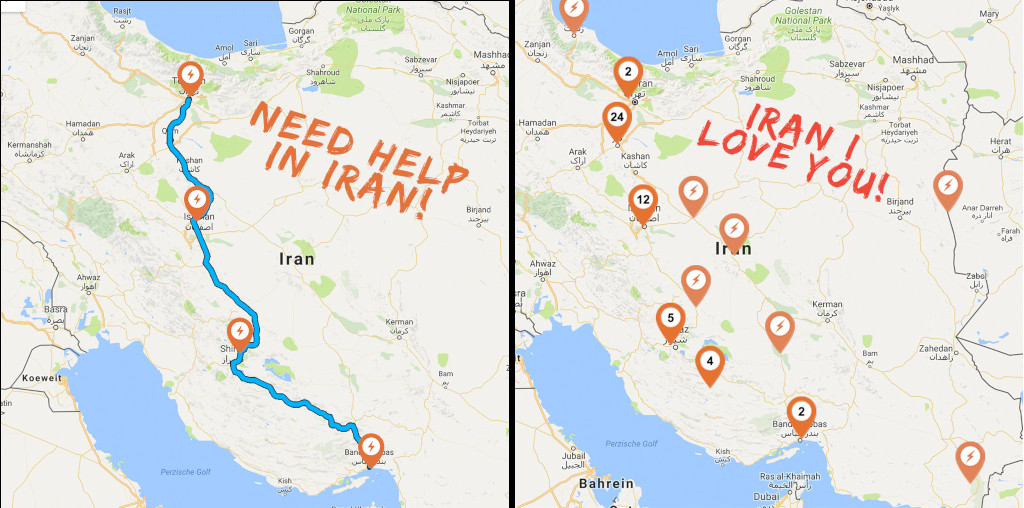 Wiebe Wakker's electric car trip, maps of Iran - first looking for help, second with lots of help markers