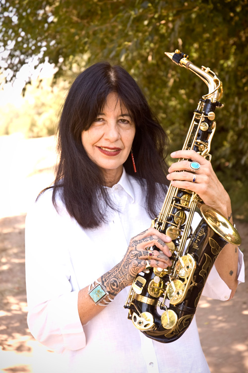 Joy Harjo with saxophone.
