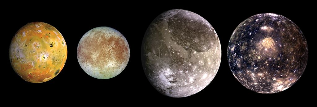 Jupiter's 4 largest moons, shown from left to right in order of increasing distance from Jupiter, Io is closest, followed by Europa, Ganymede, and Callisto.