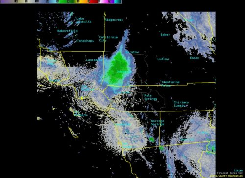 Weather radar image of a massive cloud of migrating ladybugs.