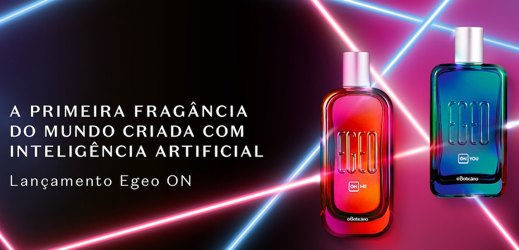 Advertisement in Portuguese for the World's First AI Perfume.
