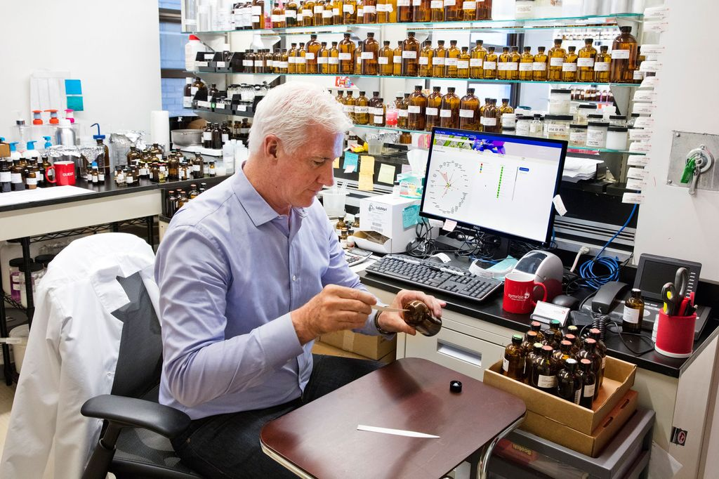 David Apel working on a fragrance.