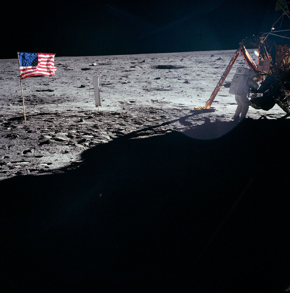 Neil Armstrong works at the LM in one of the few photos taken of him on the moon. NASA photo as11-40-5886.