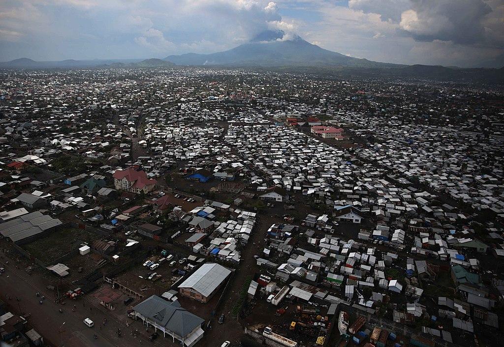 Goma & volcano Nyiragongo in background - North Kivu