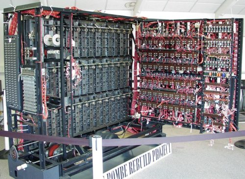 A rebuild of a British Bombe located at Bletchley Park museum.