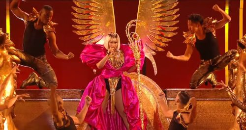 Nicki Minaj performs a medley at the 2018 Video Music Awards in New York City.
