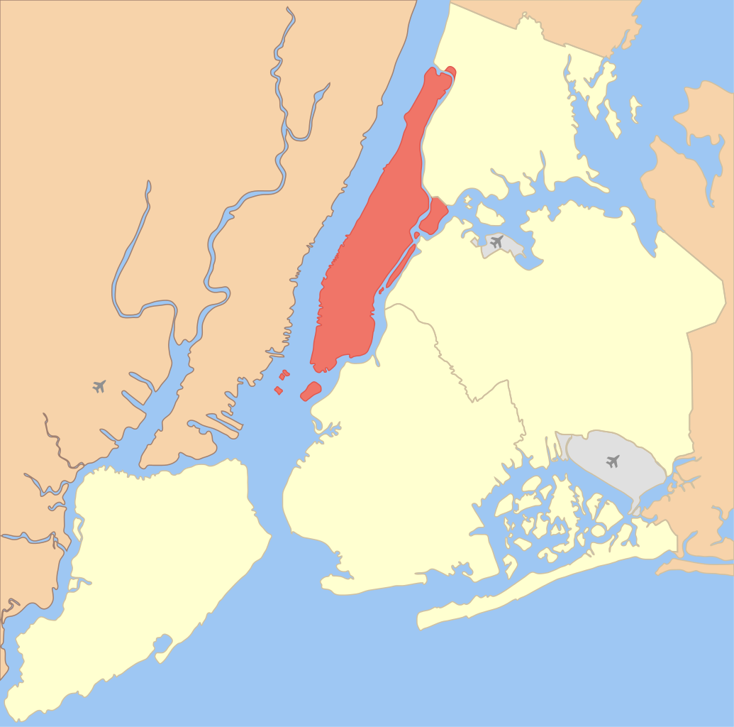 Map showing location of Manhattan in New York City.