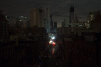Downtown Manhattan in the dark, October 31, 2012