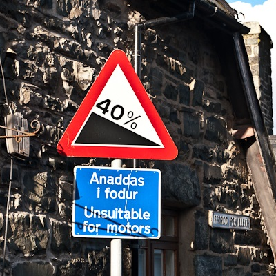 Gradient warning sign at the top of Ffordd Pen Llech.
