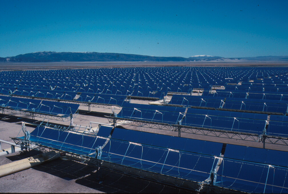 Part of the 354 MW Solar Energy Generating Systems (SEGS) parabolic trough solar complex in northern San Bernardino County, California