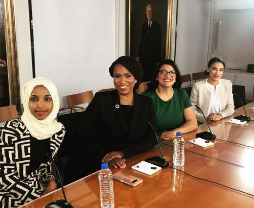 Ilhan Omar of Minnesota, Ayanna Pressley of Massachusetts, Rashida Tlaib of Michigan, and Alexandria Ocasio-Cortez of New York