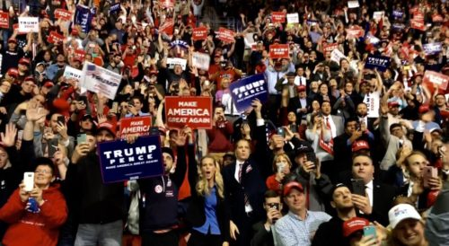 Donald Trump holding a rally in Green Bay, Wisconsin, 27 April 2019