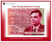 Prototype of £50 note honoring Alan Turing.