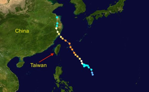 Track map of Tropical Storm Lekima of the 2019 Pacific typhoon season.