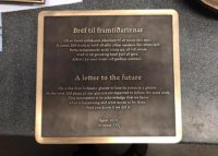 A plaque placed at the former location of the Icelandic Okjökull glacier, which disappeared due to climate change