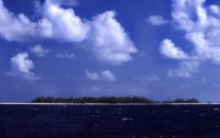 Approaching the Funafuti atoll of Tuvalu.
