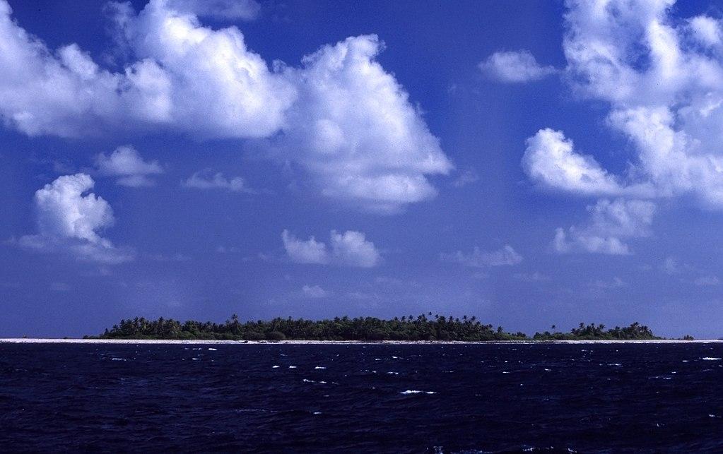 Approaching the Funafuti atoll of Tuvalu.