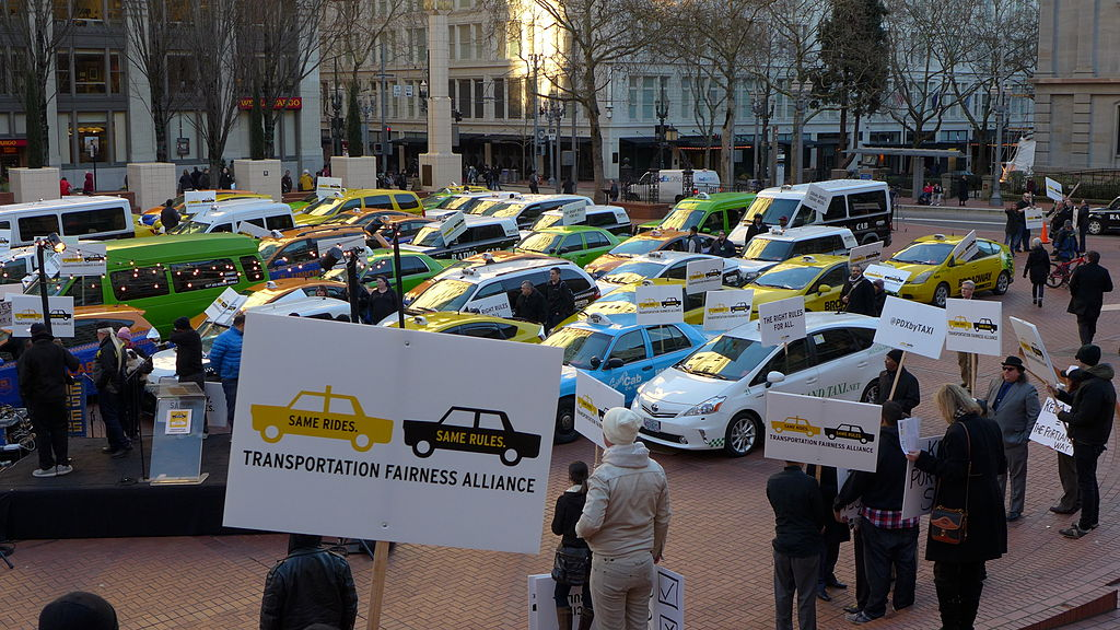 On January 13, 2015, around 70 of Portland's 460 Taxi cabs protested fair taxi laws by parking in Pioneer square. Organizers want city leaders to make ride-sharing companies play by the same rules as cabs and Town cars.