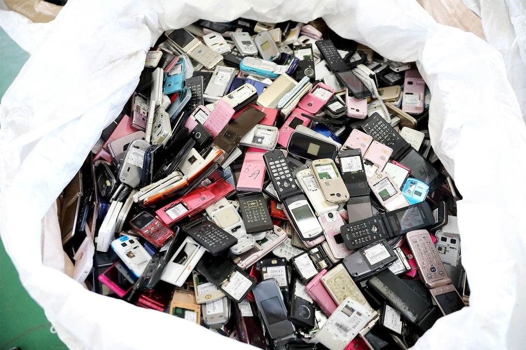Large bag of donated cell phones used to make Olympic medals.